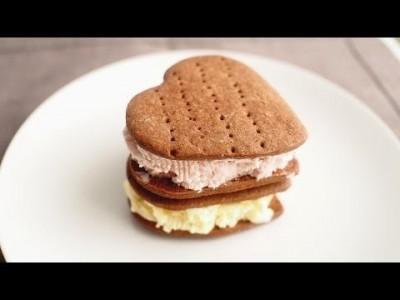 [Chocolate Heart Ice cream Sandwich] 간단 발렌타인데이 선물 2 - 초코 하트 …