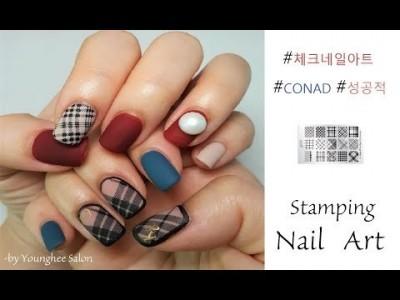 그리지 않고 찍는 체크 네일 KONAD 스탬핑 네일 아트 KONAD Stamping Nail Art ㅣ Yo…