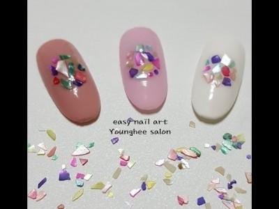 레인보우 자개를 이용한 젤 네일아트/Nacre nail art ㅣ Younghee Salon