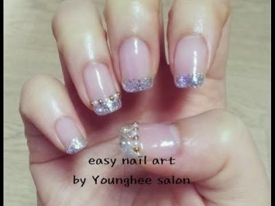 파츠로 간단히 꾸민 펄 프렌치 네일아트/Glitter nail art ㅣ Younghee Salon