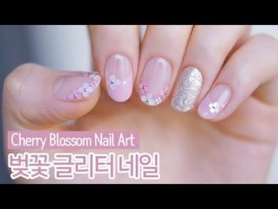 벚꽃 글리터 젤네일아트 : Cherry Blossom Nail Art
