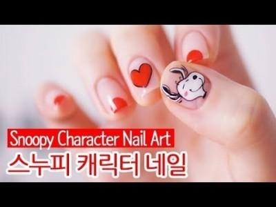 스누피 캐릭터 젤네일아트 : Snoopy Character Nail Art