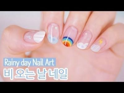 비 오는 날 젤네일아트 : Rainy Day Nail Art