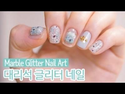 대리석 글리터 젤네일아트 : Marble Glitter Nail Art