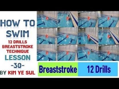 (한국어,Eng cc) 수영강습 평영편 #30  평영 드릴,12 DRILLS Breaststroke Tech…